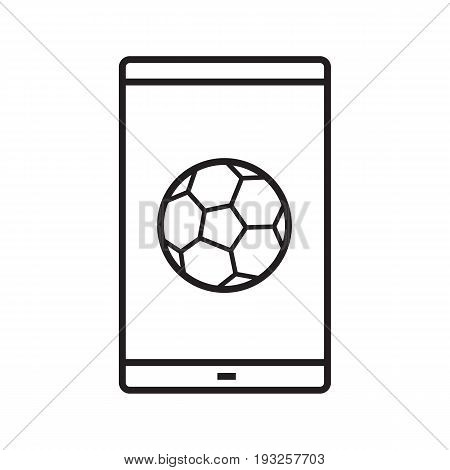 Smartphone soccer game linear icon. Sport bets app. Thin line illustration. Smart phone with football ball contour symbol. Vector isolated outline drawing