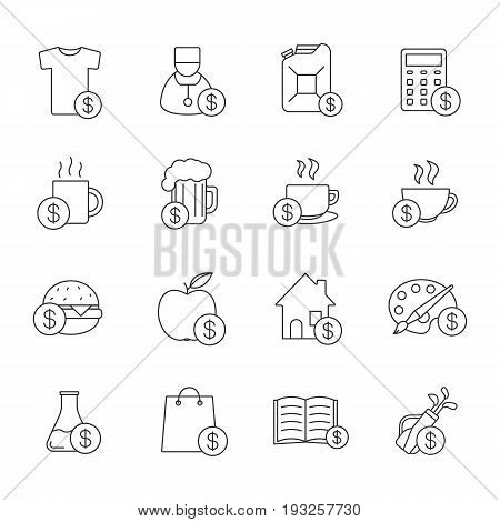 Commercial items linear icons set. Buy food, petrol, books, research, real estate, clothes, art and sport goods. Thin line contour symbols. Isolated vector outline illustrations