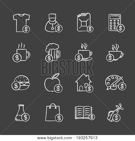 Commercial items chalk icons set. Buy food, petrol, books, research, real estate, clothes, art and sport goods. Isolated vector chalkboard illustrations