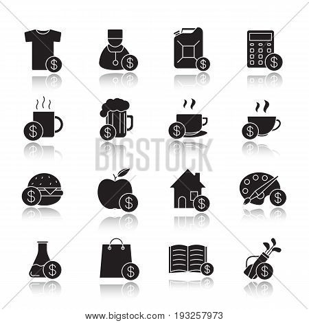 Commercial items drop shadow black icons set. Buy food, petrol, books, research, real estate, clothes, art and sport goods. Isolated vector illustrations
