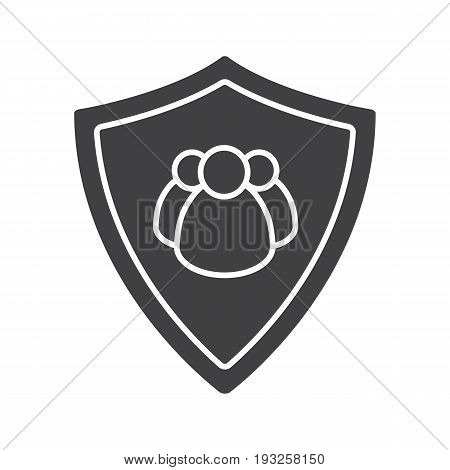 Users security glyph icon. Silhouette symbol. Collective security. Protection shield with group of people. Negative space. Vector isolated illustration