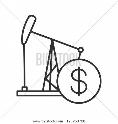 Oil trade linear icon. Thin line illustration. Oil derrick with dollar sign contour symbol. Vector isolated outline drawing