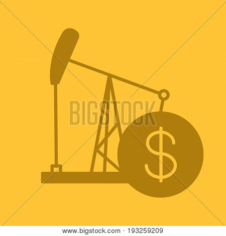 Oil trade glyph color icon. Silhouette symbol. Oil derrick with dollar sign. Negative space. Vector isolated illustration