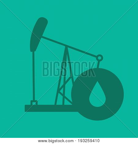 Oil derrick glyph color icon. Silhouette symbol. Pump jack with oil drop. Negative space. Vector isolated illustration