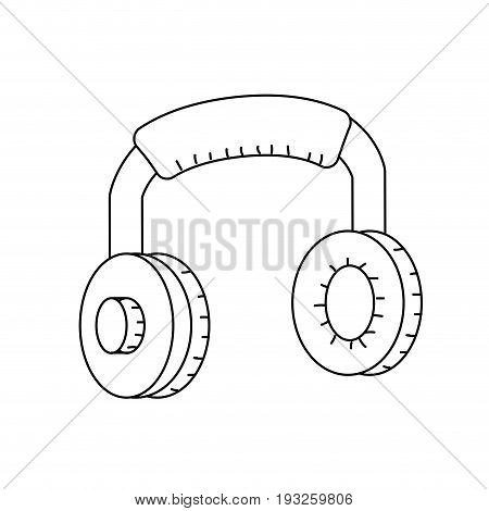line headphones to listen and play music vector illustration