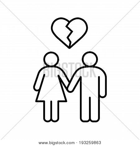 Lovers breakup linear icon. Divorced couple thin line illustration. Man and woman with broken heart shape above. Contour symbol. Vector isolated outline drawing