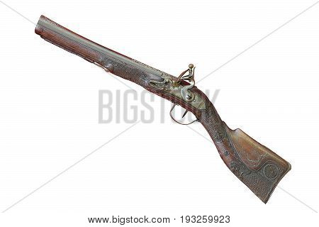 old beautiful shotgun isolated over white background collection object for your design