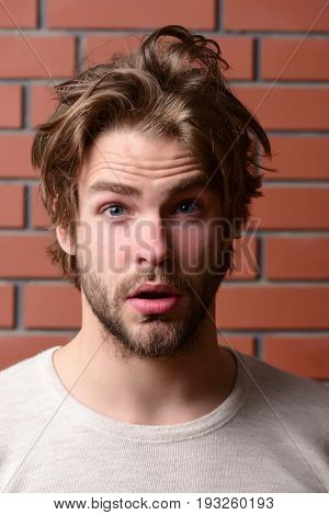 Bearded Guy With Stylish Hair And Surprised Face Expression