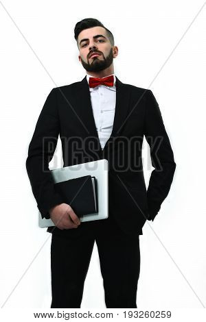 Businessman Or Lawyer With Beard, Arrogant Look And Neat Outfit