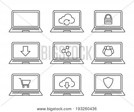 Laptops linear icons set. Notebook cloud computing, security, user group, shopping, network connection, downloads. Thin line contour symbols. Isolated vector illustrations