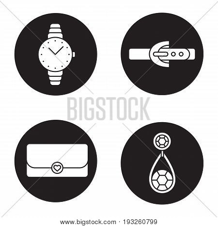Women's accessories icons set. Wristwatch, earring, clutch, leather belt. Vector white silhouettes illustrations in black circles