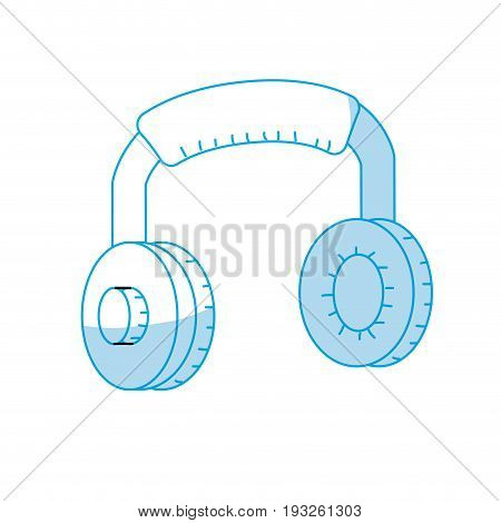 silhouette headphones to listen and play music vector illustration