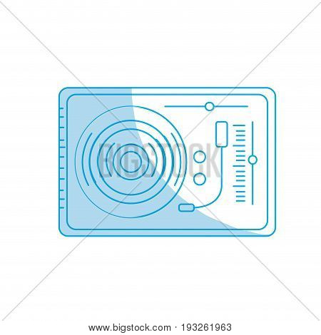 silhouette turntable to listen and play music vector illustration