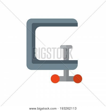 C clamp flat icon filled vector sign colorful pictogram isolated on white. Compress symbol logo illustration. Flat style design