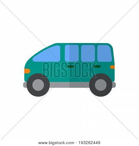 Minivan flat icon filled vector sign colorful pictogram isolated on white. Symbol logo illustration. Flat style design