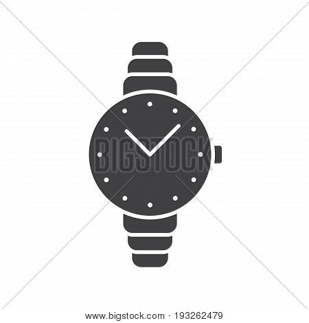 Women's wristwatch glyph icon. Silhouette symbol. Negative space. Vector isolated illustration