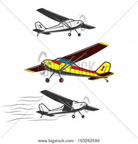 Sports, excitement and travel around the world in flight. Three kinds of vintage, small aircraft. One in color.