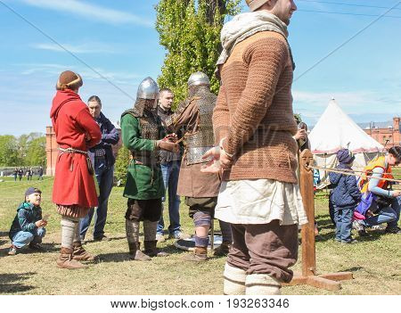 St. Petersburg Russia - 28 May, Participants in the tournament in ammunition, 28 May, 2017. Knight tournament at the festival of ancient Vikings in St. Petersburg.