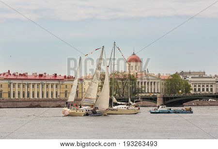St. Petersburg Russia - 28 May, River vessels at the Exchange Bridge, 28 May, 2017. Famous sightseeing places of St. Petersburg for tourists.