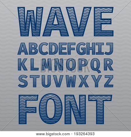 Wave Vintage Font Poster on dusty noise background vector illustration