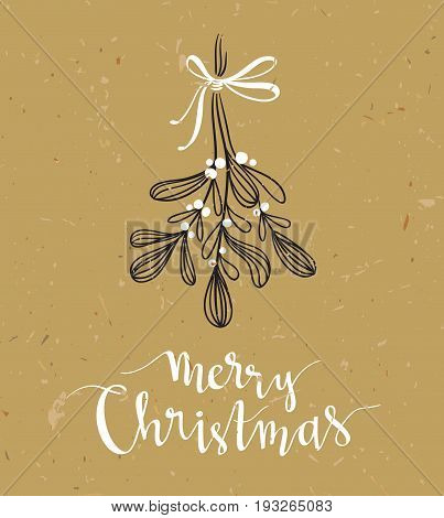 Christmas sprig of mistletoe with holiday lettering - Merry Christmas. Vector illustration for greeting cards invitations and other printing projects.