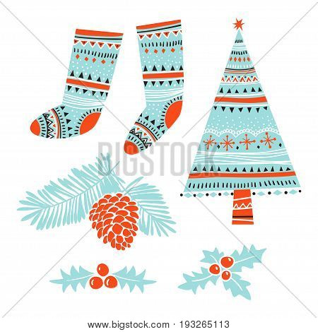Christmas Set. Template for Greeting Scrap booking Congratulations Invitations. Vector illustration with isolated christmas elements.