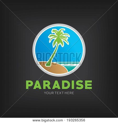 Paradise Design Template Poster with words your text here on black background vector illustration