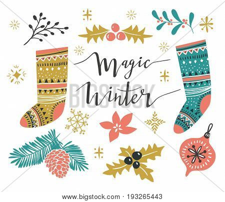 Christmas Set. Template for Greeting Scrap booking Congratulations Invitations. Vector illustration with stylish lettering 'Wonder winter' and isolated christmas elements.
