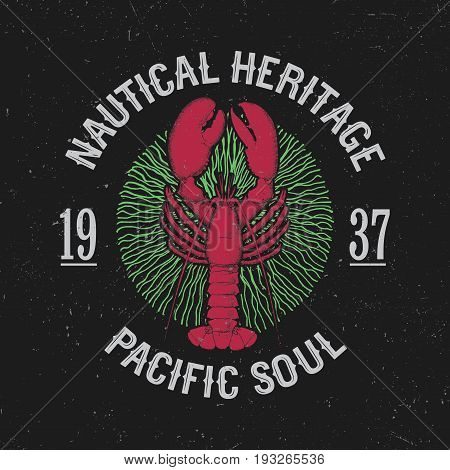 Colorful Maritime Poster with phrase Pacific Soul and nautical heritage vector illustration