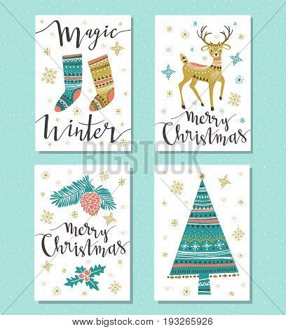 Christmas Set. Template for Greeting Scrap booking Congratulations Invitations greeting cards. Vector illustration with isolated christmas posters.