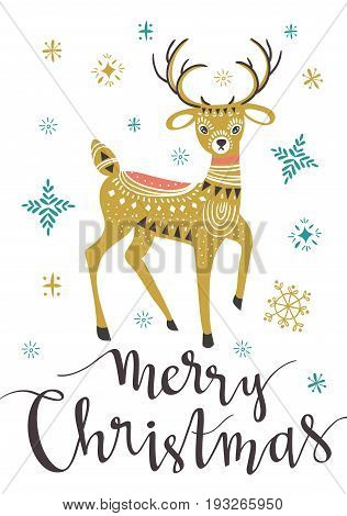 Christmas deer. Template for Greeting Scrap booking Congratulations Invitations greeting card. Vector illustration with isolated christmas poster.