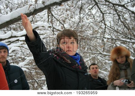 Khimki, Moscow region, Russia - February 3, 2011. Yevgenia Chirikova in the Khimki forest, told the journalists about the importance of this ecosystem. Defenders of the Khimki forest are guided tours for journalists.