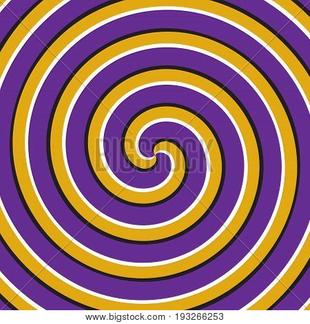 Optical motion illusion background. Purple yellow double spiral surface.