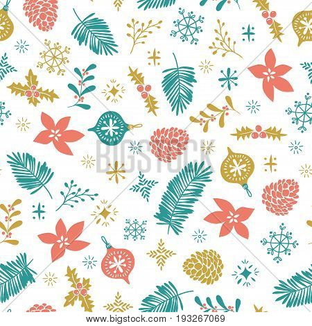 Christmas seamless pattern. Template for Greeting Scrap booking Congratulations Invitations and wrap paper. Vector illustration with christmas elements on the white background.