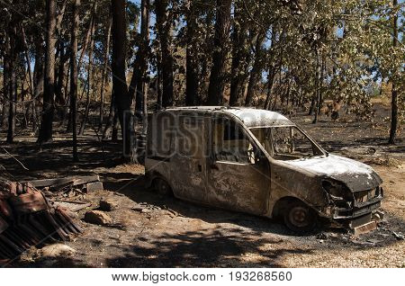 Small Van Burnt To The Ground At A Small Village Of Pedrogao Grande Municipality