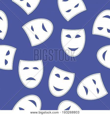 White Masks Seamless Pattern Isolated on Blue Background
