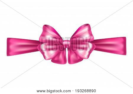 Decorative pink bow ribbon. Vector bow for page, gift card, box decor isolated on white. Realistic Shiny pink satin ribbon. Hair bow 3D