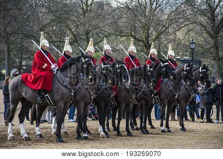 December 18, 2015, The Queen's Life Guard or Horse Guard participates in the changing of the Guard ceremony in London, UK on December 18, 2015. Guard Mounting Ceremony is held daily during spring and summer.