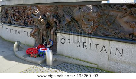 December 18 December The Battle of Britain Memorial on the Victoria Embankment a 25m-long bronze monument commemorating the pilots who died during WWII's Battle of Britain.
