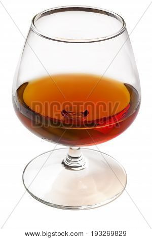 A glass of cognac isolated on white background