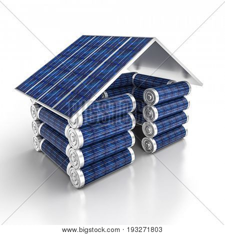solar energy house and battery 3d rendering image