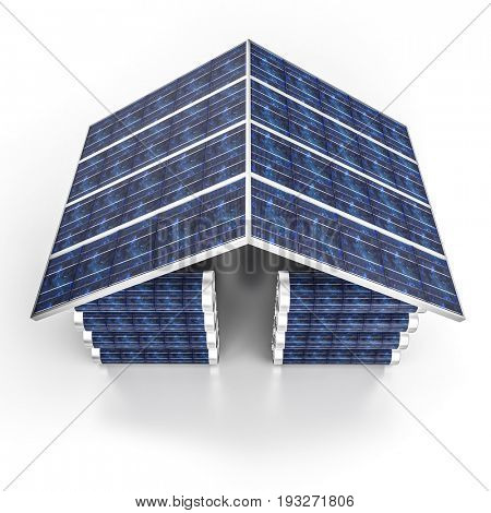 solar energy building and  battery 3d rendering image