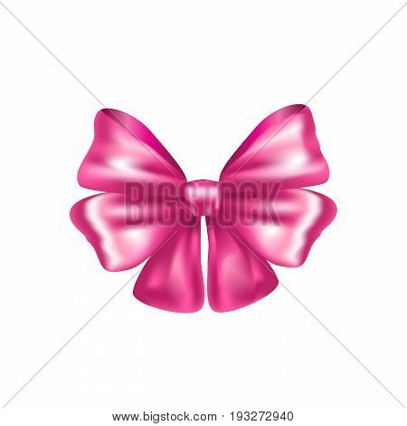 3D Decorative pink bow ribbon. Vector bow for page, gift card, box decor isolated on white. Realistic Shiny pink satin ribbon. Beautiful Hair tied bow, accessories illustration.