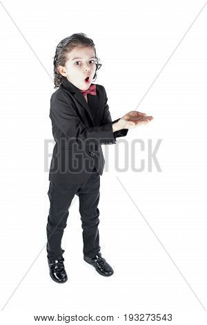 Surprised fashionable boy looking at the camera. White background.