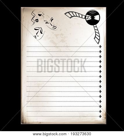 dark background, vintage beige-colored card with stylized image of cinema
