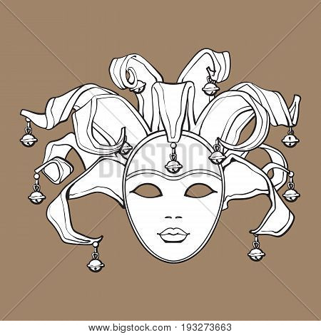 Decorated Venetian carnival, jester mask with bells and glitter, sketch style vector illustration isolated on brown background. Realistic hand drawing of carnival, Venetian mask with bells