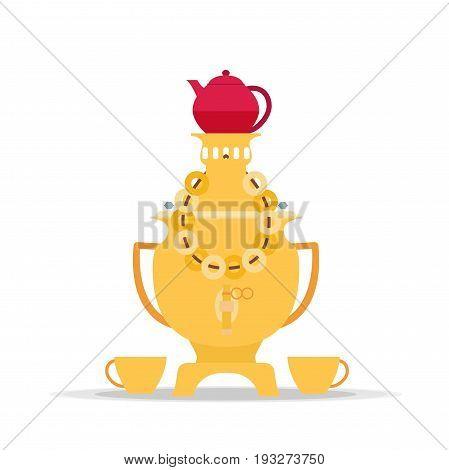 Vector samovar icon - kettle. Tea time