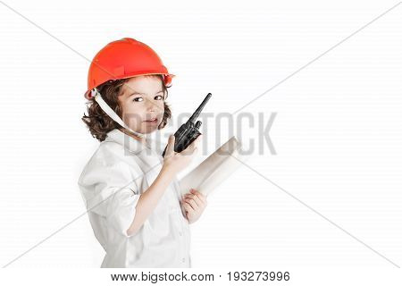 Little cute engineer said on the radio. White background.