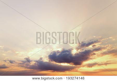 cloudy sky during sunrise / bright spring photo Ukraine