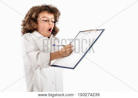 Little cute surprised scientist writes a note. Gray background.